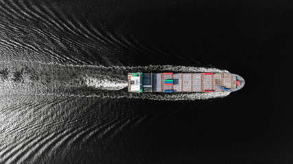 Aerial top view container ship on deep sea for logistics, import export, shipping or transportation to worldwide.