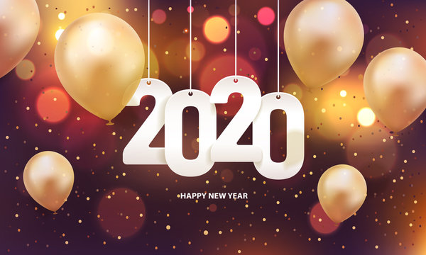 Happy new year 2020. Hanging white paper number with balloons and confetti on a colorful blurry background.