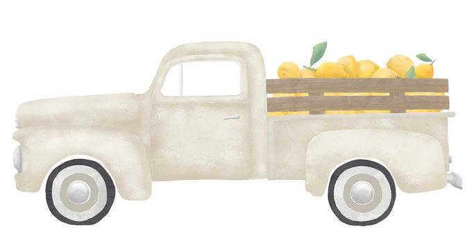 Old Vintage Gray Cream Farm Truck with Lemons