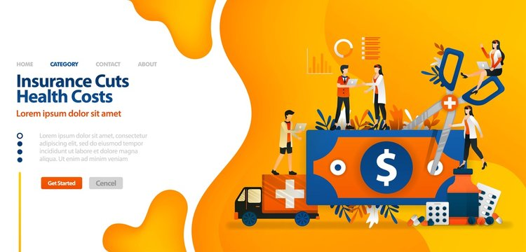 Insurance Cuts Health Costs. money cut with giant scissors .vector illustration concept can be use for landing page, template, ui ux, web, mobile app, poster, banner, website
