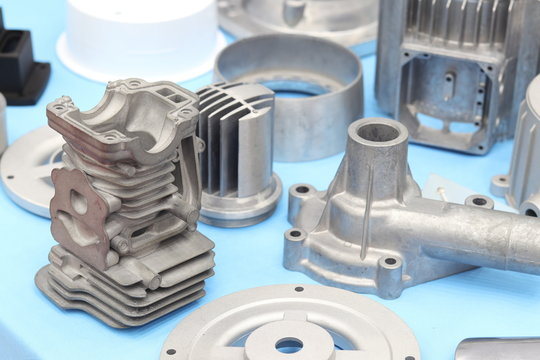 as cast  aluminium high pressure die casting part for automotive and electrical equipment ; by pushing molten into a mold cavity by hydraulic sleeve ; industrial background