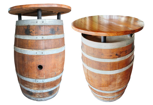 Barrel wood table isolated on white background have clipping path