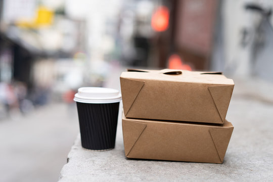Take Out Box from Cardboard and Cup of Coffee. Blank Take away Container and Paper Coffee Cup Mock-up. Close up Empty Presentation Template.