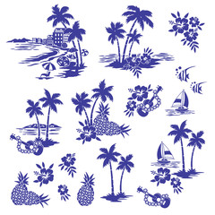 Foto auf Leinwand Weiß I made Hawaiian shore scenery an illustration,