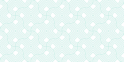 Line geometric abstract pattern seamless green line on white background.