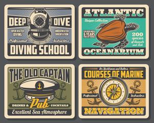 Diving school, oceanarium nautical adventure