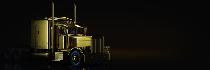 Gold truck in black background. 3d rendering Wall mural