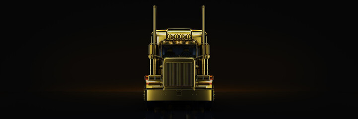 Fototapete - Gold truck in black background. 3d rendering