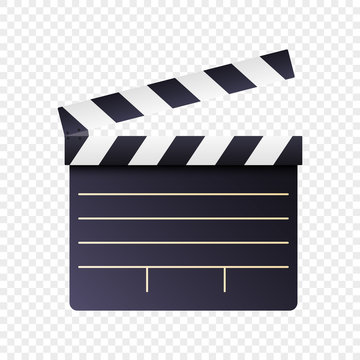 Realistic movie and film clapperboard icon on white transparent background. Art design cinema slate board template. Abstract concept graphic filmmaking element