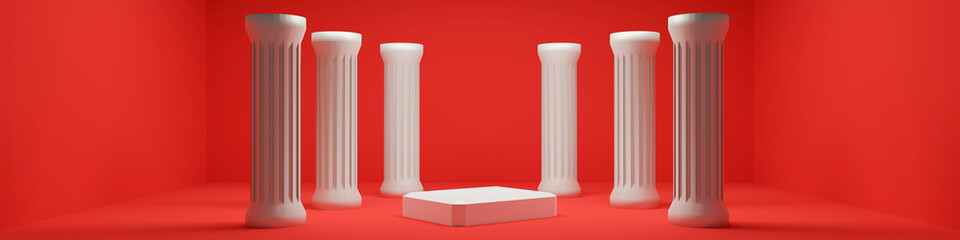 trendy showcase with white podium and  classic columns. 3d illustration Fototapete