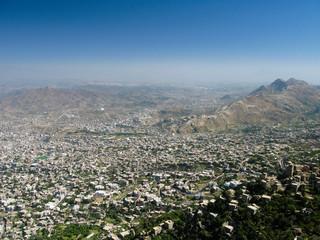 Exterior view to Taiz city from Al-Cahira fortress at Taiz, Yemen