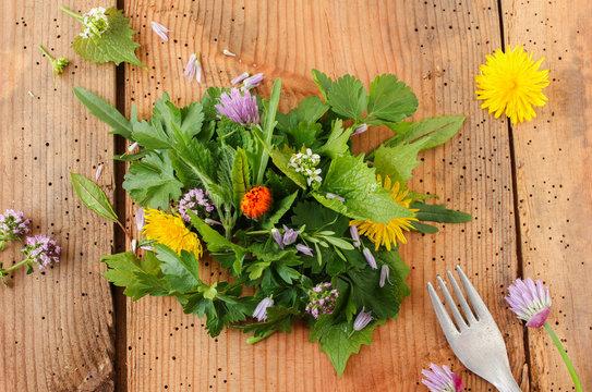 Wildkräuter Salat essbar essbare Blüte Blüten Wildkräutersalat