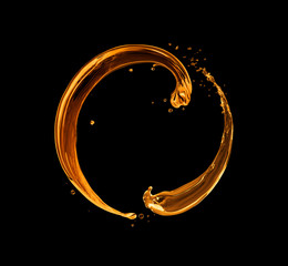 Fototapete - Splashes of oily liquid in a circular motion on black background