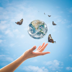 World environment day, ecology and ozone layer protection concept with woman's hand supporting earth planet under sun light flare with beautiful butterfly: Elements of this image furnished by NASA ..
