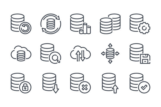 Data storage and database related line icon set. Backup linear icons. Data transfer and structure outline vector signs and symbols collection.