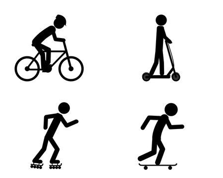 Piktogramm verschiedener Fortbewegungsmittel
