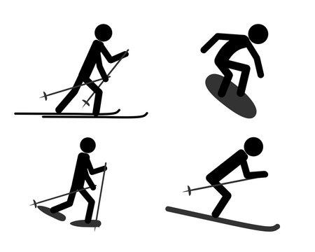 Piktogramm verschiedener sportlicher Aktivitäten im Winter