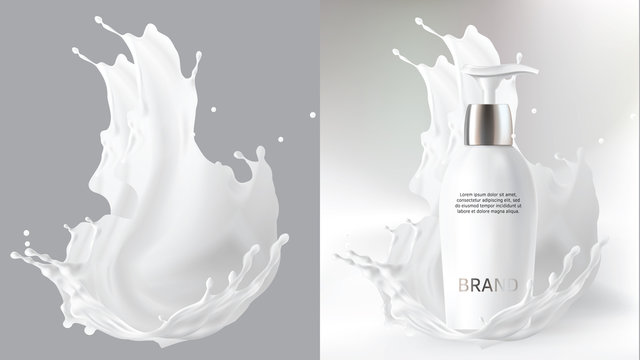 Milk cosmetics realistic vector blurred background. Skin care cosmetic product, body lotion in white bottle with silver dispenser and milk splash, crown isolated on gray. Mock-up promo poster