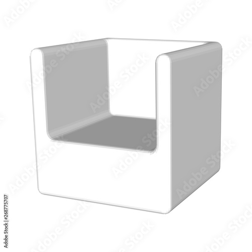 Gray Abstract Chair Seat Isolated White Background Creative