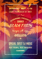 Summer night party flyer or poster. Vector design template with colorful abstract background