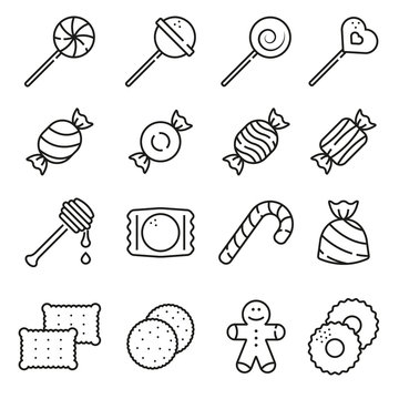 Sweets and candy icon set on white background