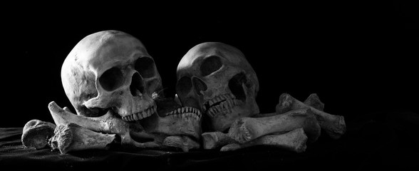 Two Skull on pile of bones put on black cloth  and black background