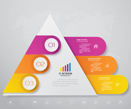 3 steps pyramid with free space for text on each level. infographics, presentations or advertising. EPS10.
