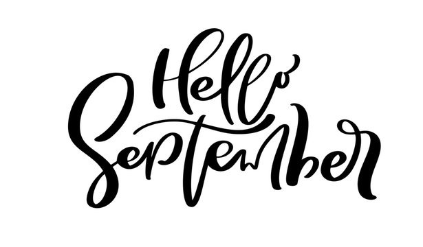 Hello September Vector ink lettering. Handwriting black on white word. Modern calligraphy style. Brush pen