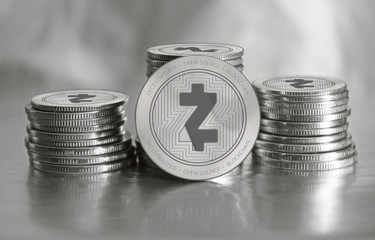 ZCash (ZEC) digital crypto currency. Stack of silver coins. Cyber money.