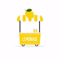 Lemonade stand cart. Street food cart. Vector Illustration.