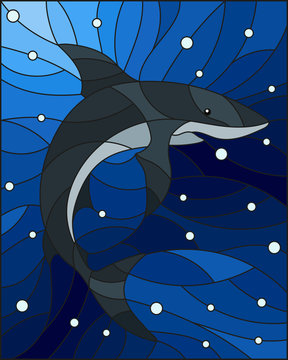 Illustration in the style of stained glass with shark on the background of water and air bubbles