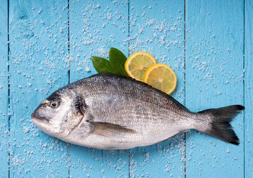 Seabream with vegetables on blue wooden background