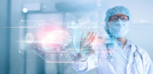 Doctor, surgeon analyzing patient brain testing result and human anatomy, dna on technological digital futuristic interface, digital holographic, innovative in medical, science and medicine concept.