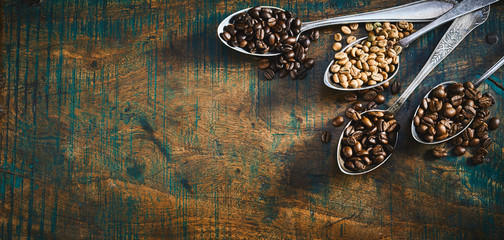 Assorted roasted and raw coffee beans in spoons Wall mural