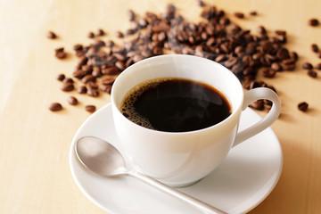 Fototapeta コーヒー Coffee cup on wooden background obraz