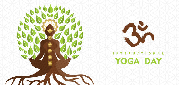 Yoga Day banner of buddha tree in lotus pose