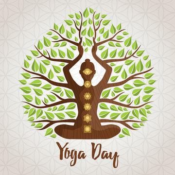 Yoga Day greeting card of woman lotus pose tree