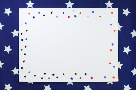 4th of July American Independence Day decorations. Flat lay, top view, copy space