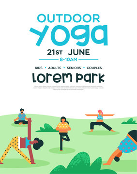 Outdoor yoga flyer template for diverse people