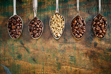 Border of assorted roasted coffee beans