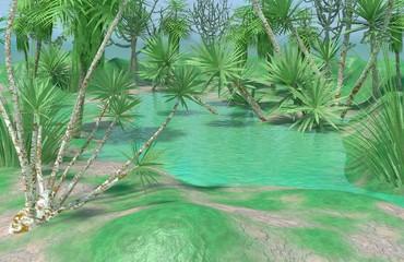 Oasis • Pond • Nature scene • Trees