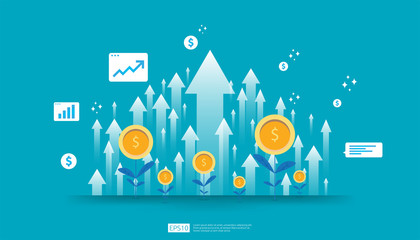 Return on investment ROI, profit opportunity concept. business growth arrows to success. arrow with dollar plant coins, graph and chart increase. business banner flat style vector illustration.