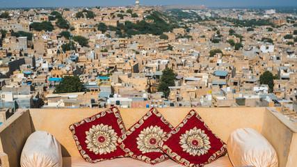 Beautiful panorama skyline view of desert town Jaisalmer, India
