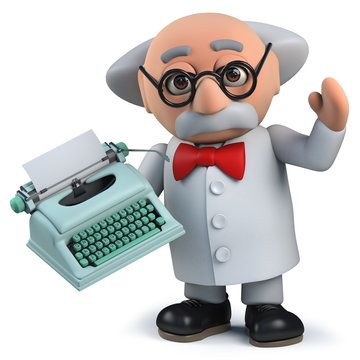 Crazy mad scientist holding an old retro typewriter in 3d