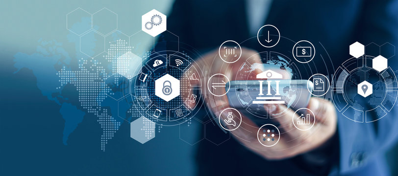 Businessman using mobile online banking and payments, Digital marketing. Finance and banking network. Online shopping and icon customer networking connection, cyber security. Business technology.