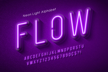 Neon light alphabet, multicolored extra glowing font. Wall mural