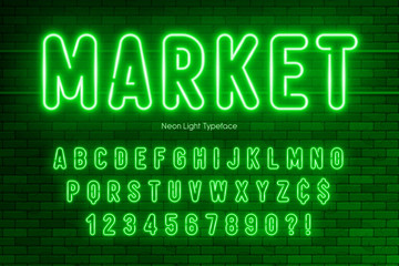 Neon light alphabet, extra glowing font design