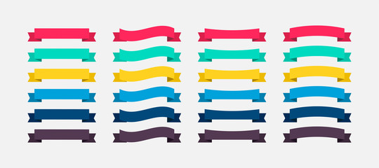 Ribbons Banners colorful in flat design. Ribbon Banners vector icons. Vector Ribbons Banners Fotobehang