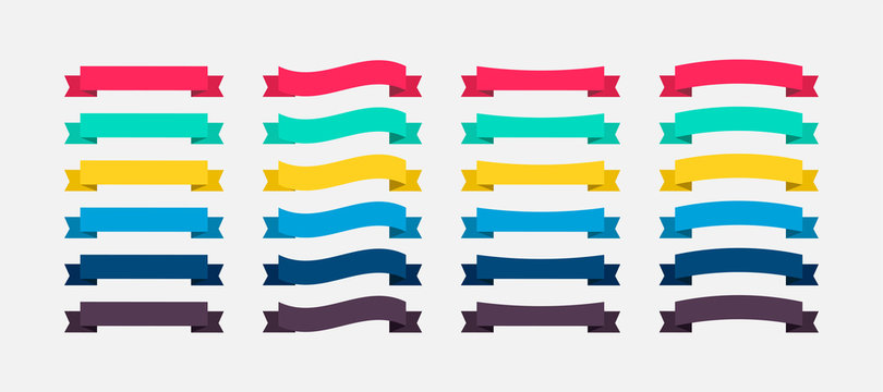 Ribbons Banners colorful in flat design. Ribbon Banners vector icons. Vector Ribbons Banners
