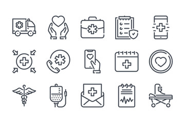 Healthcare related line icon set. Emergency linear icons. Hospital and medical care outline vector signs and symbols collection.